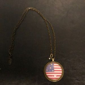 Plunder American flag necklace in antique gold
